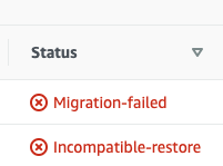 Unable to migrate database to Aurora